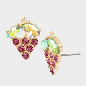Betsey Johnson gold grape wine stud earrings